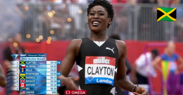 Watch: Rushell Clayton wins 400m Hurdles at London Diamond League