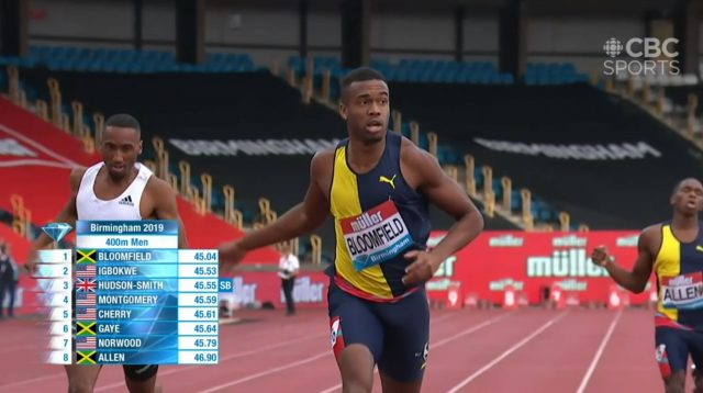 Watch: Akeem Bloomfield wins 400m in Birmingham Diamond League