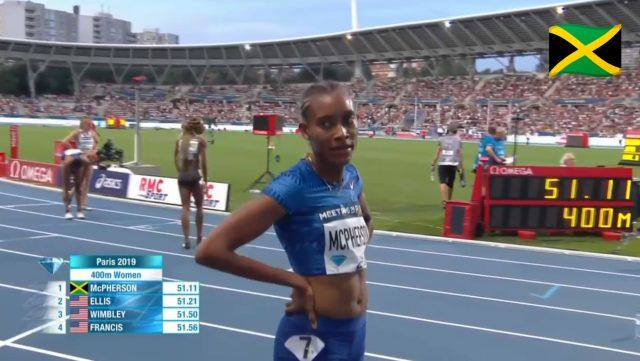 Stephenie Ann McPherson wins 400m at Paris Diamond League