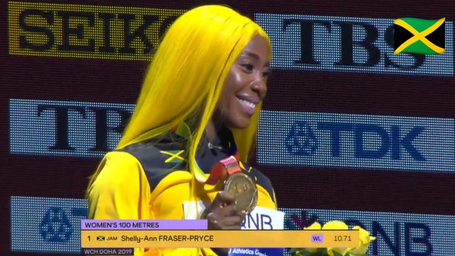 Shelly-Ann Fraser-Pryce receives 4th 100m World Championships GOLD medal