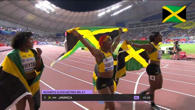 Watch: Team Jamaica wins Women's 4x100m relay GOLD