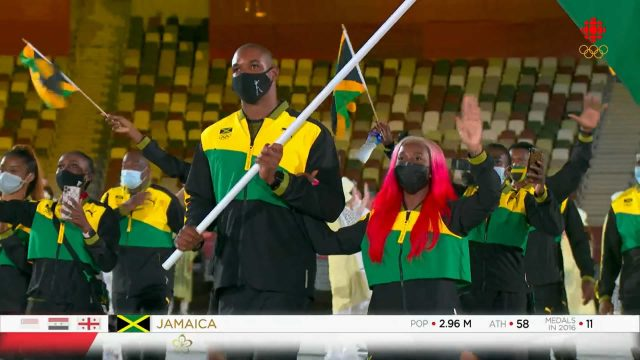 Here comes the Jamaicans during the 2020 Tokyo Olympics Ceremony