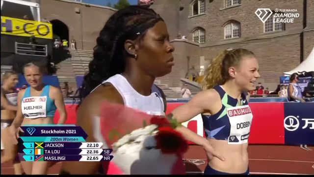 Shericka Jackson ?? wins the Women's 200M at the Stockholm Diamond League in 22.10
